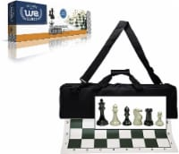 WE Games Complete Tournament Chess Set, Triple Weight Pieces, Green Board, Bag - 1 unit