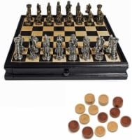 WE Games Pewter Medieval Chess & Checkers Set - Black Stained Wood Board - 15 in - 1 unit