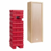 WE Games Wood Block Stacking Party Game - 12 in. Box  - Red Blocks - 1 unit