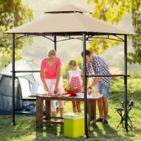 Costway 8' x 5' Outdoor Patio Barbecue Grill Gazebo w/ LED Lights 2-Tier Canopy Top Tan - 1 unit