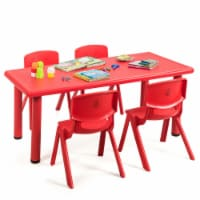 Gymax Kids Plastic Table and Stackable Chairs Set Indoor/Outdoor Home Classroom Red - 1 unit
