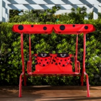 Gymax Kids Patio Porch Bench Swing w/ Safety Belt Canopy Outdoor Furniture Red - 1 unit