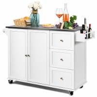 Costway Kitchen Island 2-Door Storage Cabinet Stainless Steel Top w/Drawers & Spice Rack - 53''x18''x36''