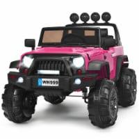 Costway 12V Kids Ride On Truck RC Car w/ LED Lights Music Trunk Pink - 49'' x 31'' x 32''