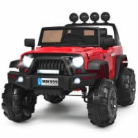 Costway 12V Kids Ride On Truck RC Car w/ LED Lights Music Trunk Red - 49'' x 31'' x 32''