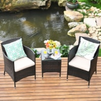 Gymax 3PCS Patio Outdoor Rattan Furniture Set Cushioned Chairs Coffee Table - 1 unit