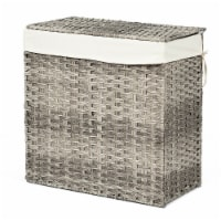 Gymax Hand-woven Laundry Basket Foldable Rattan Laundry Hamper W/Removable Bag Grey - 1 unit