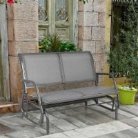 Gymax 48'' Outdoor Patio Swing Glider Bench Chair Loveseat Rocker Lounge Backyard Grey - 1 unit
