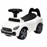 Costway Foot-to-Floor Kids Ride-On Push Car w/ Horn and Music White\Pink