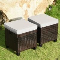 Gymax Set of 2 Patio Wicker Rattan Ottoman Footrest Garden Outdoor w/ Cushion - 1 unit