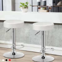 Costway 1 PC Round Bar Stool Adjustable Swivel Pub Chair U Leather with Footrest White\\