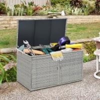 Gymax 88 Gallon Rattan Storage Box Outdoor Patio Container Seat w/ Shelf Door - 1 unit