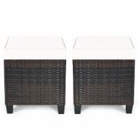 Costway 2PCS Patio Rattan Ottoman Cushioned Seat Coffee Table Furniture Beige - 1 unit