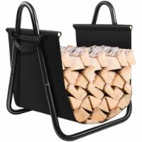 Costway Firewood Rack Log Holder W/ Canvas Tote Carrier for Fireplace Outdoor Backyard - 1 unit