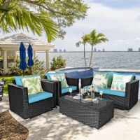 Costway 4PCS Patio Rattan Cushioned Sofa Chair Coffee Table Turquoise - 1 unit