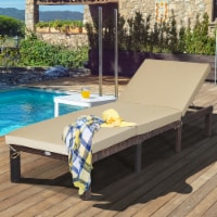 Costway Outdoor Rattan Lounge Chair Recliner Adjustable Cushioned Patio Yard