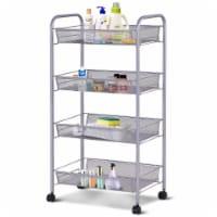 Costway 4 Tier Storage Rack Trolley Cart Home Kitchen Organizer Utility Baskets SliverBlack - 1 unit