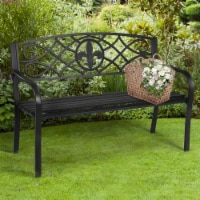 Costway Patio Garden Bench Park Yard Outdoor Furniture Steel Slats Porch Chair Seat