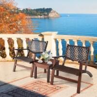 Gymax 3PCS Rattan Patio Chair & Table Set Outdoor Furniture Set w/ Wooden Frame - 1 unit