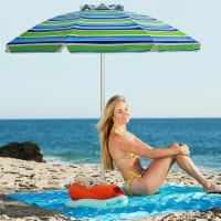 Costway 6.5FT Patio Beach Umbrella Sun Shade Tilt W/Carry Bag Turquoise - 1 unit