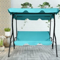 Gymax Blue Outdoor Swing Canopy Patio Swing Chair 3-Person Canopy Hammock - 1 unit