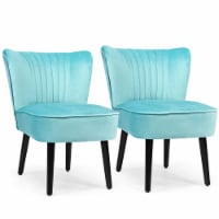 Costway Set of 2 Armless Accent Chair Upholstered Leisure Chair Single Sofa Turquoise\Stone