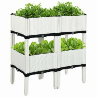 Costway Set of 4 Raised Garden Bed Elevated Flower Vegetable Herb Grow Planter Box White - 1 unit