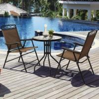 Gymax 3PCS Bistro Set Conversation Set Pub Patio Outdoor w/ Folding Chairs Table - 1 unit