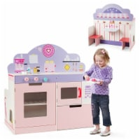 Costway 2 in 1 Kids Play Kitchen & Cafe Restaurant Wooden Pretend Cooking Playset Toy - 1 unit