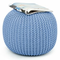 Gymax Pure Cotton Pouf Floor Ottoman Hand Knitted Footrest Cable Style Home - 1 unit
