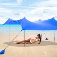 Costway Family Beach Tent Canopy w/ 4 Poles Sandbag Anchors 10'x9' UPF50+ - 1 unit