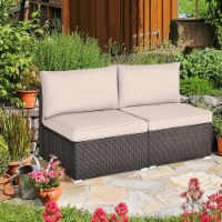 Gymax 2PCS Patio Sectional Armless Sofas Outdoor Rattan Furniture Set w/ Cushions - 1 unit