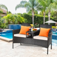 Gymax Cushioned Rattan Wicker Patio Conversation Set w/ Loveseat Table Mix Brown - 1 unit