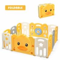 Costway 12-Panel Foldable Baby Playpen Kids Yellow Duck Yard Activity Center w/ Sound