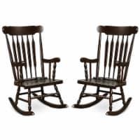 Costway Set of 2 Wood Rocking Chair Glossy Finish White\ Coffe - 1 unit