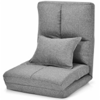 Gymax Flip Chair Convertible Sleeper Couch Futon Bed Lounger w/Pillow Grey - 1 unit