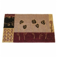 18 x 30 in. PVC Backed Coir Bleach Stenciled Floral Art - Geo Flowers Doormat - 1