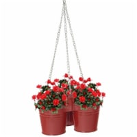 Enameled Galvanized Hanging 3 Planter Unit for 5.5 in. Plants, Red