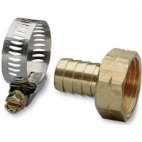 63 in. Female Brass Hose Repair With Worm Gear Clamp - 1