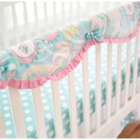 Pixie Baby Crib Rail Cover, Aqua - 1