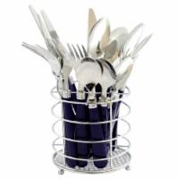 Sensations Ii 16 Piece Flatware Set With Cobalt Plastic Handle With Wire Caddy - 16