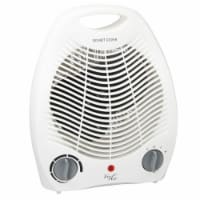 2-Settings White Office Fan Heater With Adjustable Thermostat - 1