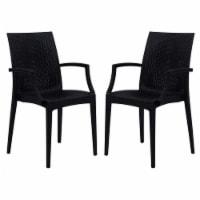 LeisureMod Modern Weave Mace Indoor Outdoor Dining Armchair in Black Set of 2 - 1