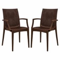 LeisureMod Modern Weave Mace Indoor Outdoor Dining Armchair in Brown Set of 2