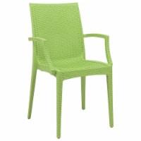LeisureMod Modern Weave Mace Indoor Outdoor Dining Armchair in Green - 1