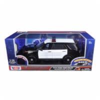 Motormax 73996 2015 Ford Police Interceptor Utility Black & White with Flashing Light Bar, Fr - 1