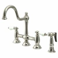 KS3798PLBS Restoration Bridge Kitchen Faucet with Brass Sprayer, Brushed Nickel - 1
