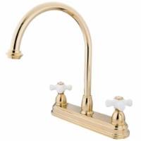 Kingston Brass KB3742PX Restoration Centerset Kitchen Faucet, Polished Brass