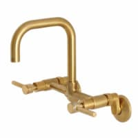 Kingston Brass Concord 8-Inch Adjustable Center Wall Mount Kitchen Faucet, Brushed Brass