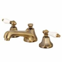"Kingston Brass KS4463PL 8"" Widespread Bathroom Faucet, Antique Brass - 1"
